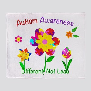Autism Awareness Flowers Throw Blanket