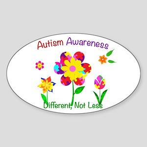 Autism Awareness Flowers Sticker (Oval)
