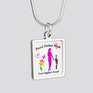 Proud Autism Mom Silver Square Necklace