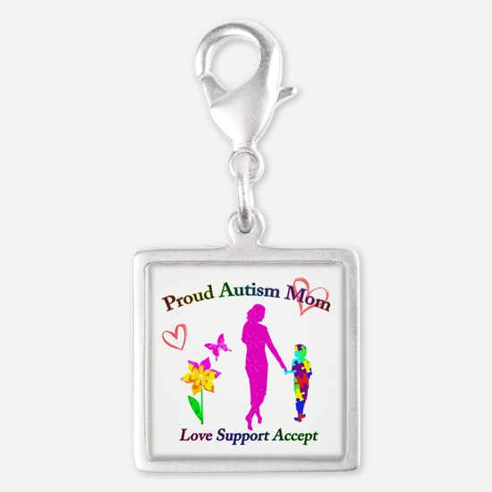 Proud Autism Mom Silver Square Charm
