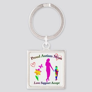 Proud Autism Mom Square Keychain
