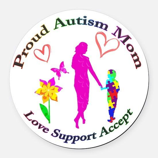 Proud Autism Mom Round Car Magnet