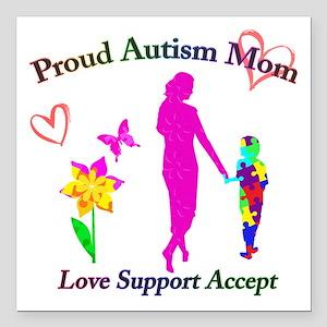 """Proud Autism Mom Square Car Magnet 3"""" x 3"""""""