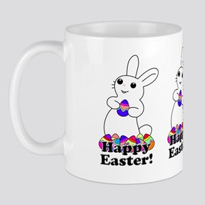 White Bunny with Colored Easter Eggs Mug