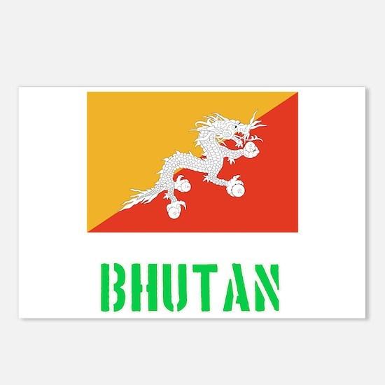 Bhutan Flag Stencil Green Postcards (Package of 8)