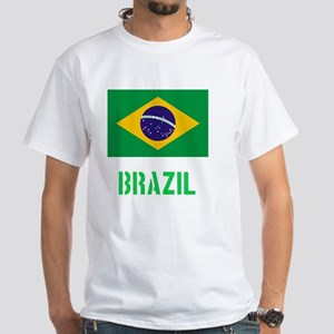 Brazil Flag Stencil Green Design T-Shirt