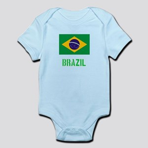 Brazil Flag Stencil Green Design Body Suit