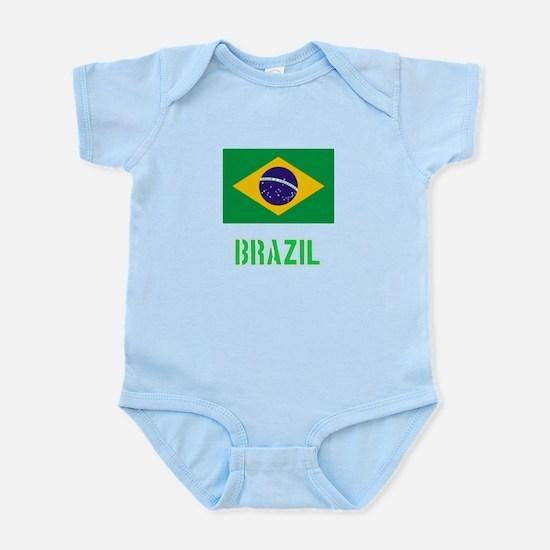 Brazil Flag Stencil Green Design Body Suit