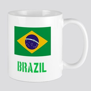 Brazil Flag Stencil Green Design Mugs