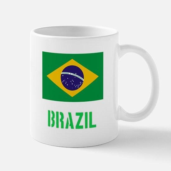 Brazil Flag Stencil Green Design Mugs