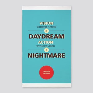 Action without vision is nightmare Japane Area Rug