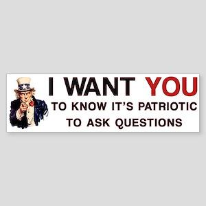 Ask Questions Political Bumper Sticker