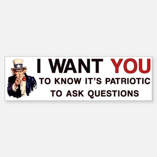 Ask Questions Political Bumper Bumper Bumper Sticker
