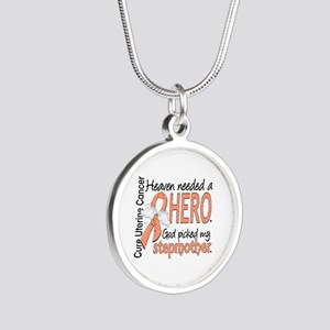 Uterine Cancer HeavenNeededH Silver Round Necklace