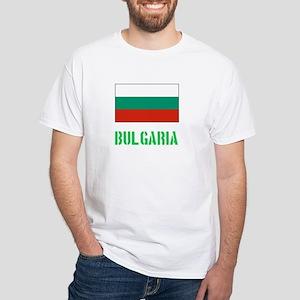 Bulgaria Flag Stencil Green Design T-Shirt
