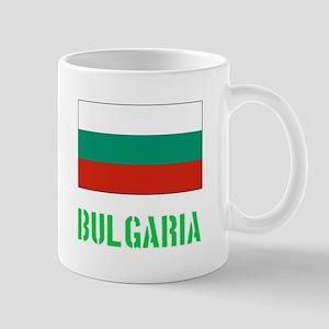 Bulgaria Flag Stencil Green Design Mugs