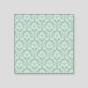 "Jade green damask pattern Square Sticker 3"" x 3"""