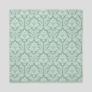 Jade green damask pattern Queen Duvet
