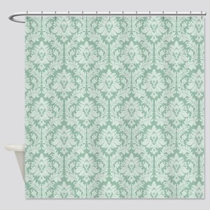 Jade Green Damask Pattern Shower Curtain