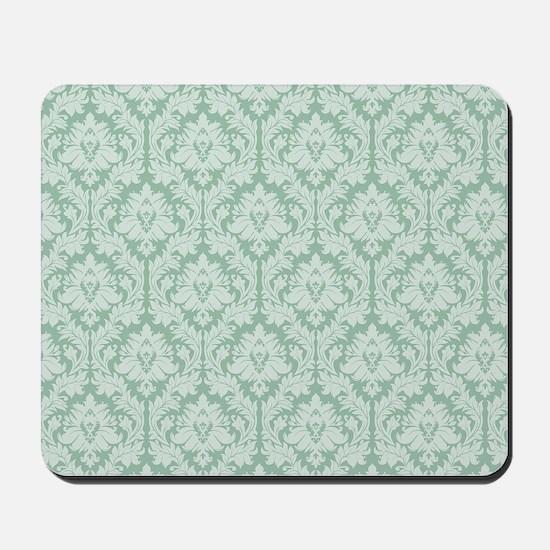 Jade green damask pattern Mousepad