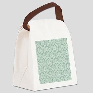 Jade green damask pattern Canvas Lunch Bag