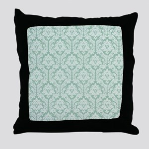 Jade green damask pattern Throw Pillow