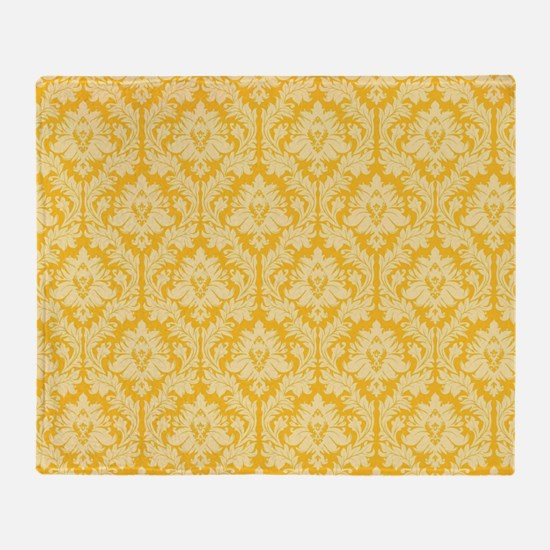 Yellow damask pattern Throw Blanket