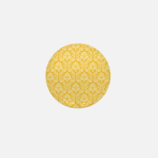 Yellow damask pattern Mini Button