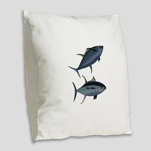 TUNA FISH Burlap Throw Pillow