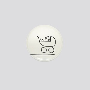 baby in buggy Mini Button