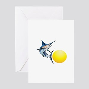 SWORDFISH AND SUN Greeting Cards