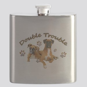Boxer Dogs Double Trouble Flask