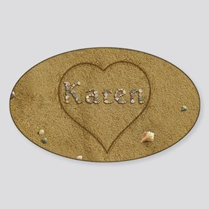 Karen Beach Love Sticker (Oval)