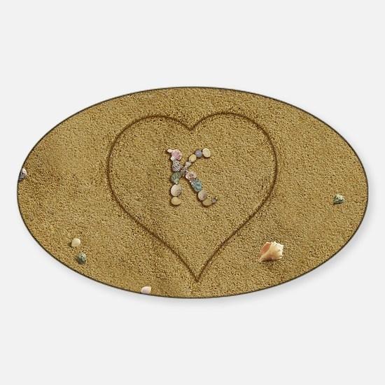 K Beach Love Sticker (Oval)