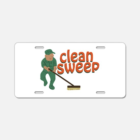 Clean Sweep Aluminum License Plate