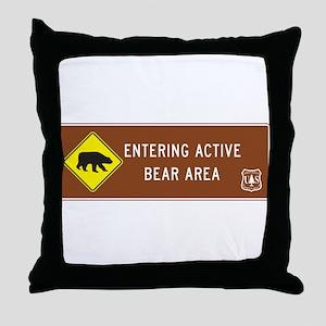Entering Active Bear Area, North Caro Throw Pillow