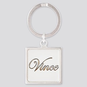 Gold Vince Square Keychain