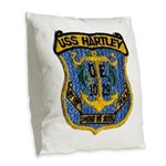 USS HARTLEY Burlap Throw Pillow