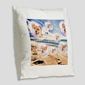 Beach Corgis Burlap Throw Pillow