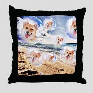 Beach Corgis Throw Pillow