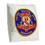 USS HARWOOD Burlap Throw Pillow