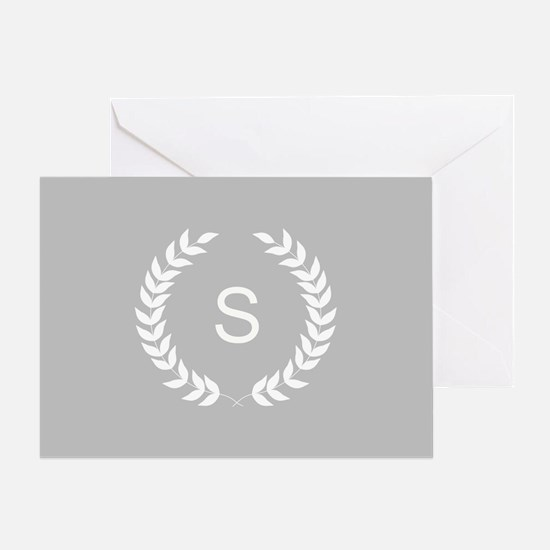 Grey and White Monogram Laurel Wreath Greeting Car