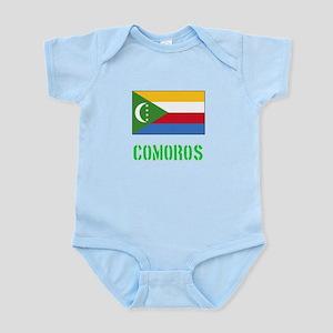 Comoros Flag Stencil Green Design Body Suit