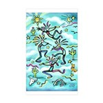 Kokopelli - Turq. Sticker (Rectangle 10 pk)