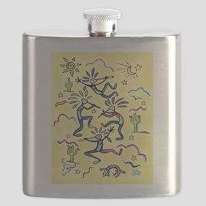 Kokopelli (yellow) Flask