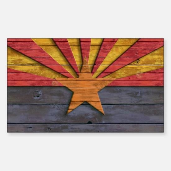 Vintage Arizona Flag Distresse Sticker (Rectangle)