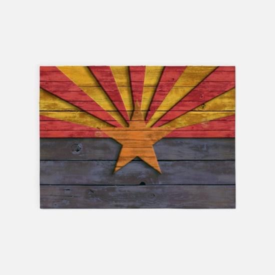 Vintage Arizona Flag Distressed Woo 5'x7'Area Rug