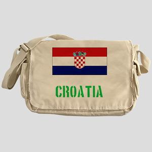 Croatia Flag Stencil Green Design Messenger Bag