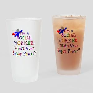 Social Worker Super Power Drinking Glass