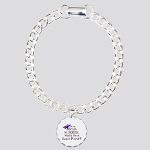 Social Worker Super Powe Charm Bracelet, One Charm
